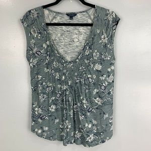 Lucky Brand Short Sleeve Floral Print Top